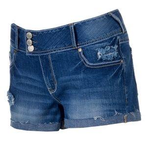 Junior's Amethyst Destructed Cutoff Shortie Shorts